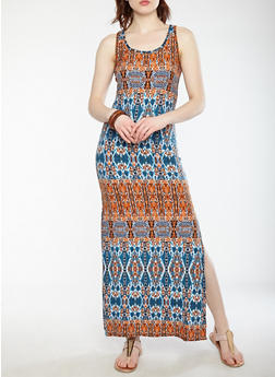 Printed Soft Knit Racerback Maxi Dress - 1094038348904