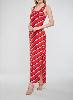 Striped Maxi Racerback Tank Dress - 1094038348905