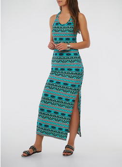 Aztec Print Side Slit Maxi Dress - 1094038348912