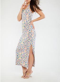 Printed Racerback Tank Dress - 1094038348913