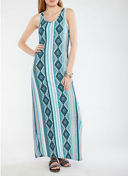 Soft Knit Border Print Tank Dress - 1094038348915