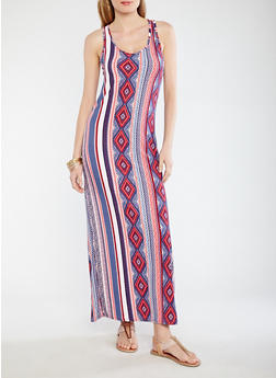 Soft Knit Border Print Tank Dress - 1094038348915