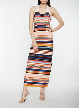 Striped Tank Maxi Dress - 1094038348922