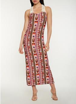Printed Crochet Detail Tank Maxi Dress - 1094038348923