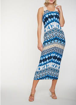 Printed Crochet Detail Tank Maxi Dress - 1094038348924