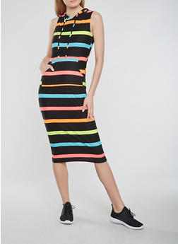Soft Knit Hooded Striped Tank Dress - 1094038348928