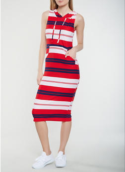 Striped Hooded Tank Dress - 1094038348930