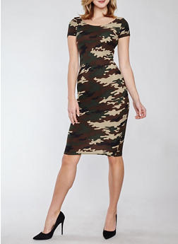 Soft Knit Camo T Shirt Dress - 1094038348952