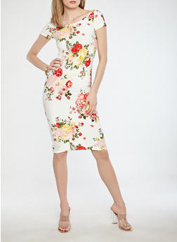 Soft Knit Floral Bodycon Dress - 1094038348953