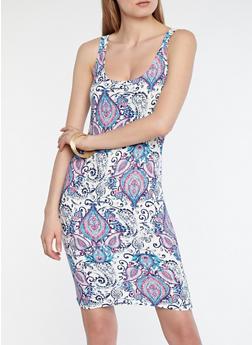 Soft Knit Paisley Print Tank Dress - 1094038348962
