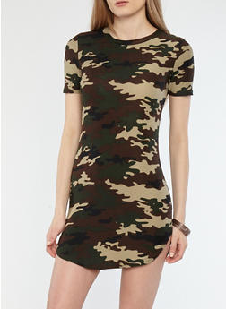 Soft Knit Camo Print T Shirt Dress - 1094038348968