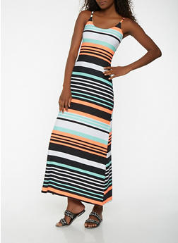 Striped Maxi Tank Dress - 1094038348977