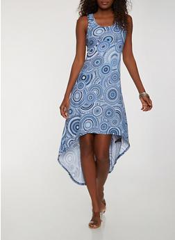Printed High Low Tank Dress - 1094038348984