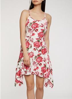 Soft Knit Floral Print Tank Dress - 1094038348987
