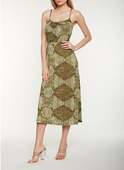 Printed Tie Back Midi Tank Dress - 1094038348997