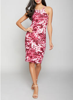 Tie Dye Midi Bodycon Dress - 1094038349031