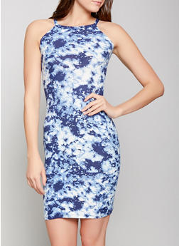 Tie Dye Midi Bodycon Dress - 1094038349031