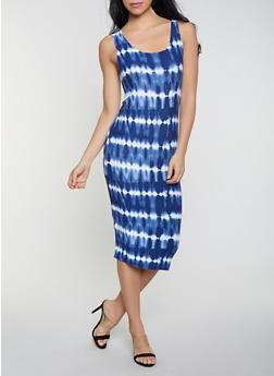 Tie Dye Scoop Neck Tank Dress - 1094038349041
