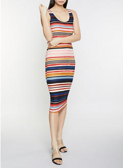 Striped Midi Tank Dress - 1094038349044