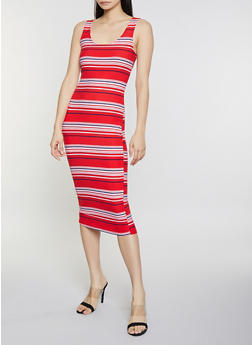 Striped Tank Dress - 1094038349046