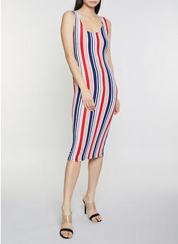 Striped Soft Knit Tank Dress - 1094038349047