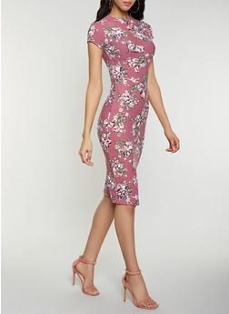 Floral Mock Neck Dress - 1094038349048