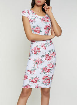 Scoop Back Floral Bodycon Dress - 1094038349062