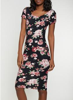 Floral Bodycon Dress - 1094038349063