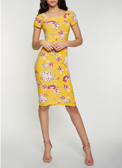 Floral Bodycon Dress - 1094038349063
