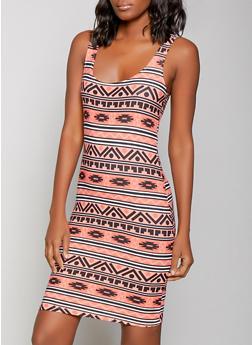Aztec Print Tank Dress - 1094038349087