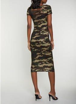 Slashed Back Camo T Shirt Dress - 1094038349091