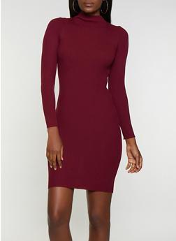 Long Sleeve Rib Knit Midi Dress - 1094038349350