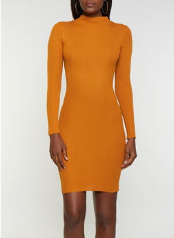 Long Sleeve Rib Knit Midi Dress - 1094038349350