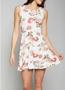 Floral Soft Knit Skater Dress - 1094038349451