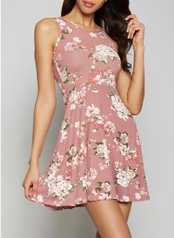 Floral Soft Knit Skater Dress - 1094038349451