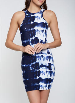 Tie Dye Racerback Bodycon Tank Dress - 1094038349454