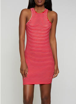 Striped Soft Knit Racerback Tank Dress - 1094038349456