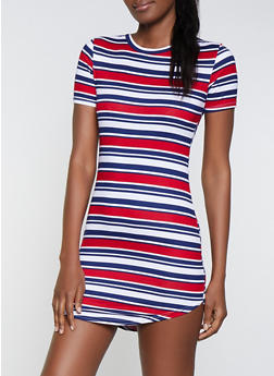 Striped Crew Neck T Shirt Dress - 1094038349462