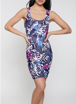 Newspaper Print Tank Dress - 1094038349465