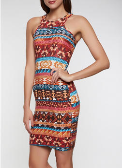 Soft Knit Aztec Tank Dress - 1094038349486