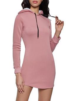 Sherpa Lined Hood Sweatshirt Dress - 1094038349520