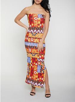 Printed Maxi Tube Dress - 1094038349668