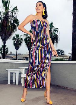 Printed Bodycon Tube Dress - 1094038349669