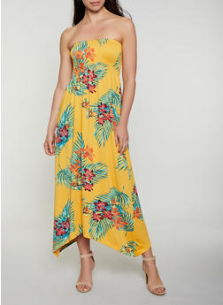 Tropical Floral Smocked Maxi Dress - 1094038349670