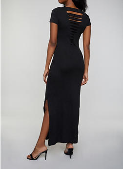 Solid Slashed Back Maxi T Shirt Dress - Black - Size S - 1094038349810