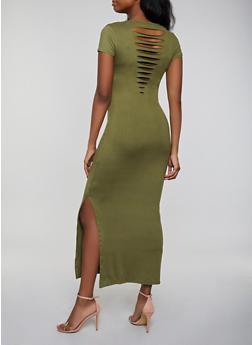 Solid Slashed Back Maxi T Shirt Dress - 1094038349810