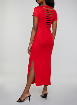 Solid Slashed Back Maxi T Shirt Dress - 1094038349810