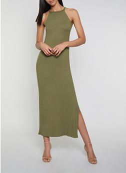 Soft Knit Side Slit Maxi Dress - 1094038349812