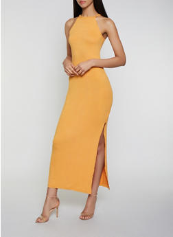 Soft Knit Side Slit Maxi Dress - 1094038349812