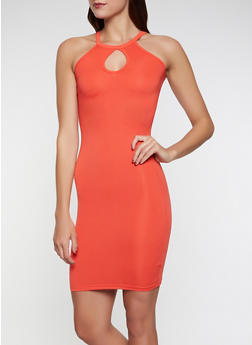 Womens Orange Knit Dress